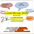 Le lundi 9 mai à 14h à la bibliothèque Les 7 Lieux Atelier échange Parents-Enfants, Espace convivial avec parents et […]
