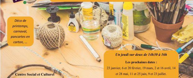Venez participer aux ateliers déco du Centre Social : Déco de printemps, carnaval, pancartes en carton… Un jeudi sur deux […]